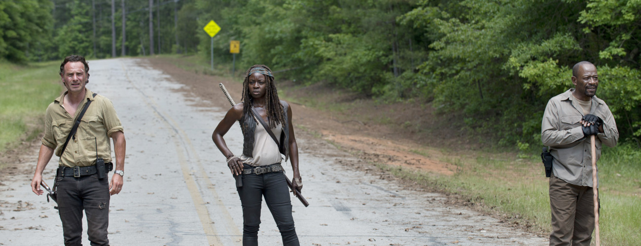 Andrew Lincoln as Rick Grimes, Danai Gurira as Michonne and Lennie James as Morgan Jones - The Walking Dead _ Season 5, Episode 1 - Photo Credit: Gene Page/AMC